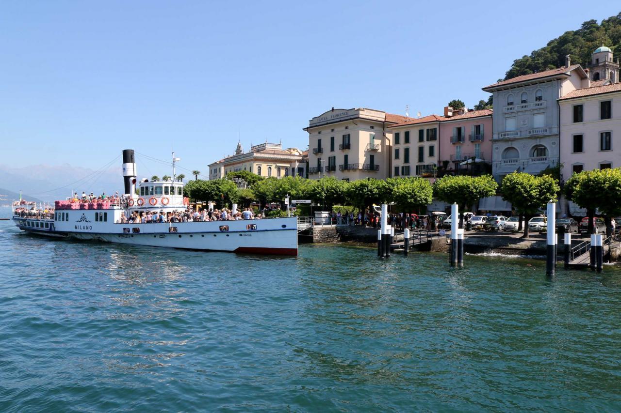 Le Milano, bateau à vapeur, à quai à Bellagio