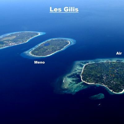 Les îles Gilis vues de haut ! plus proches de Lombok