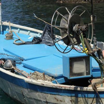 Bleu comme ... cette barque de pêcheur dans le port de Portofino (IT)