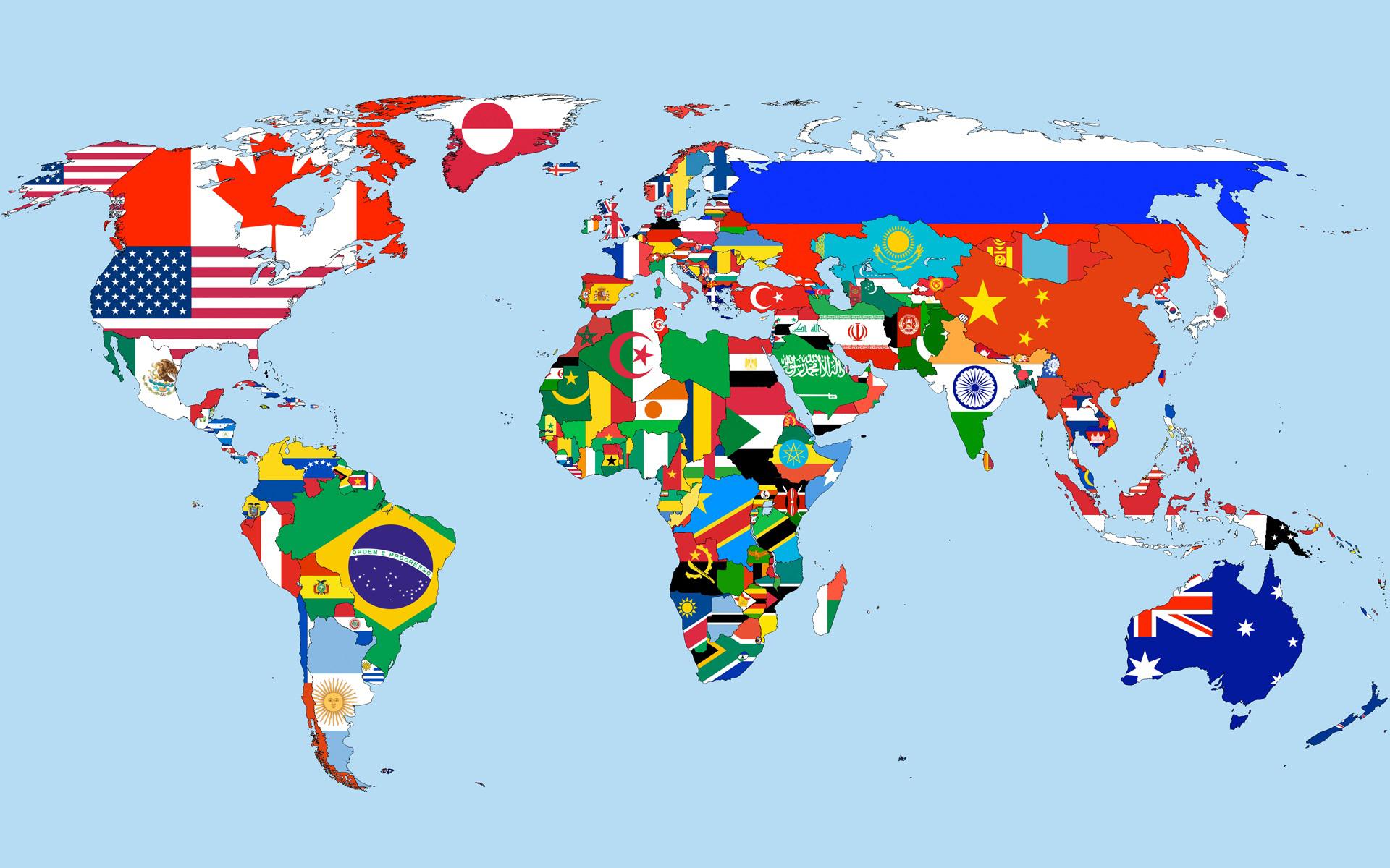 Carte monde pays drapeau 5