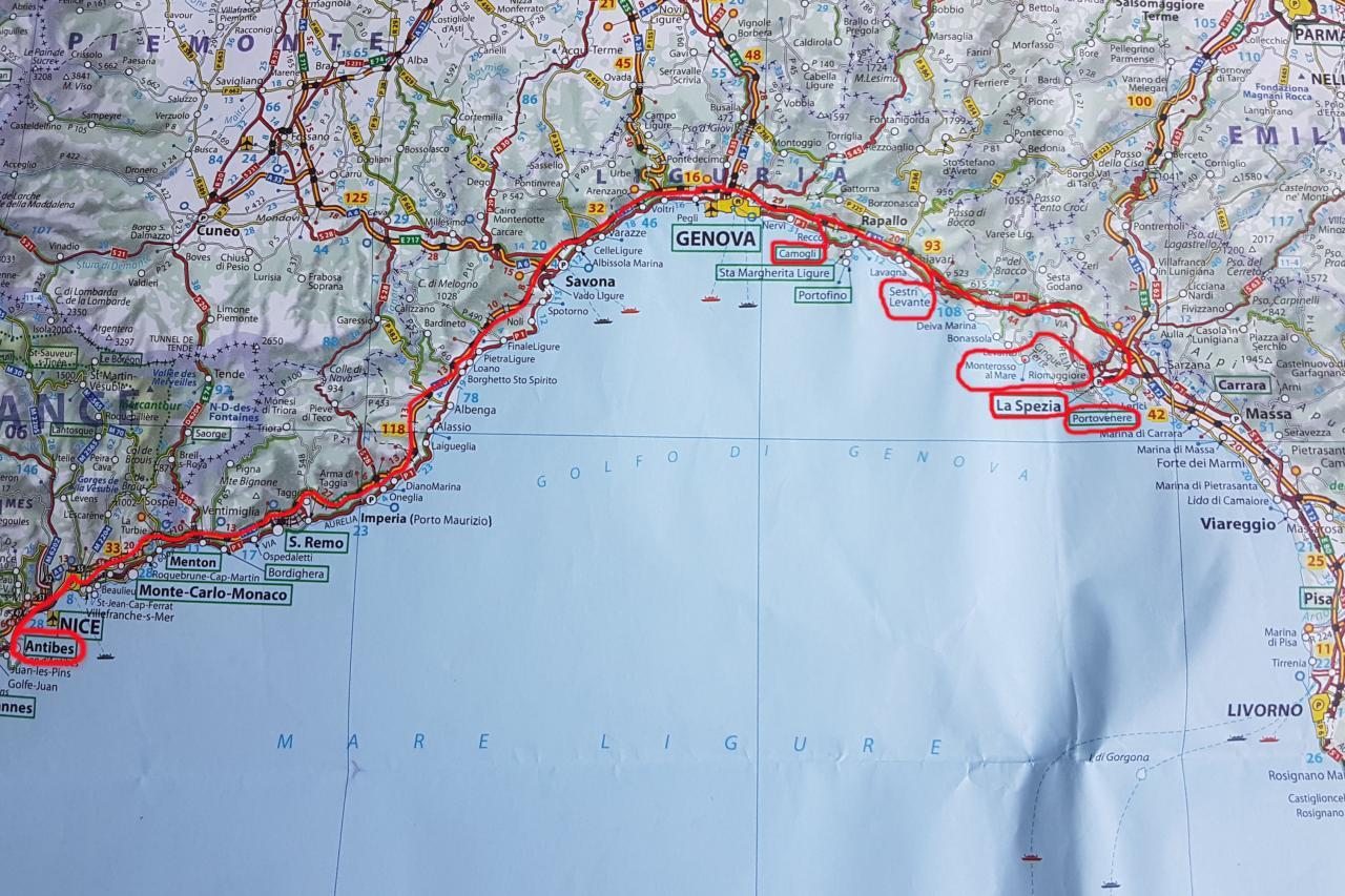 Antibes - La Spezia : 320 kms