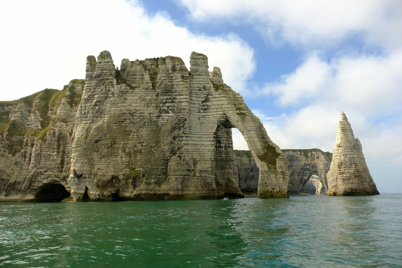 le trou à l'homme, les deux arches et l'aiguille creuse, à marée haute