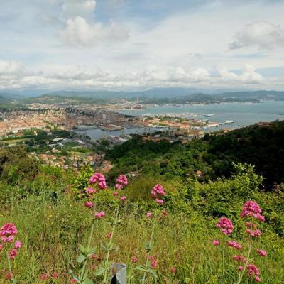 la côte est rude mais la vue sur la rade de la Spezia est belle