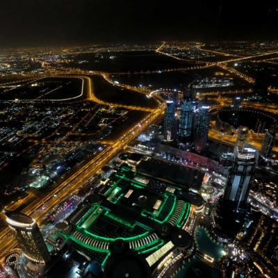 En vert le Dubaï mall, on n'imagine pas qu'il soit si grand !