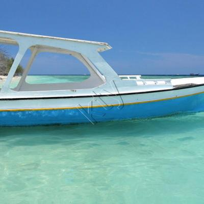 Bleu comme ... la mer, le ciel, le bateau sur l'île Gili Méno (Bali)