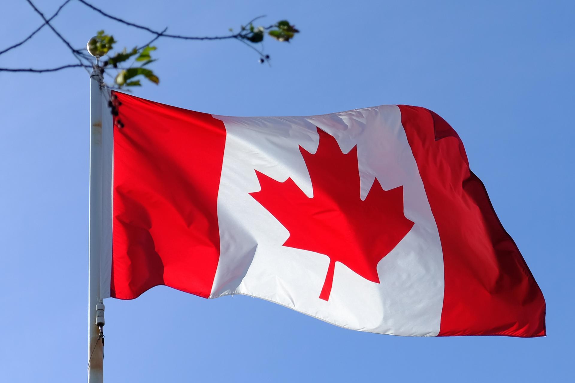 Le drapeau canadien avec comme emblème la feuille d'érable